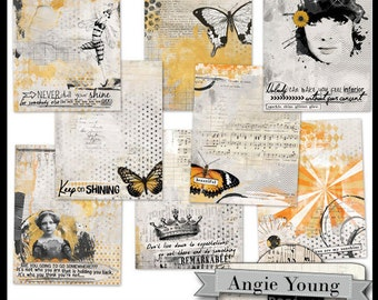 Journal It Papers Set #14 - Digital Art Supplies By Angie Young