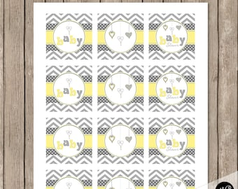 Hearts Yellow and Gray Baby Shower Cupcake Toppers, Chevron -  Hearts Image and Baby Shower - INSTANT DOWNLOAD  HYG01