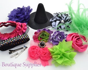 """Hot Pink DIY 4"""" Witch Hat and Headband Kit"""