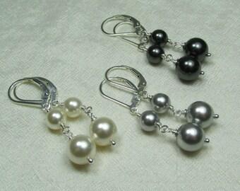 Bridesmaid Jewelry Set of 6 Pair Bridesmaid Earrings Long Pearl Earrings Bridesmaid Gift Wedding Jewelry Pearl Drop Earrings Bridal Earrings