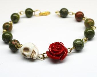 Original Day of the Dead Green Pink Unakite Red Rose Flower Sugar Skull Bracelet