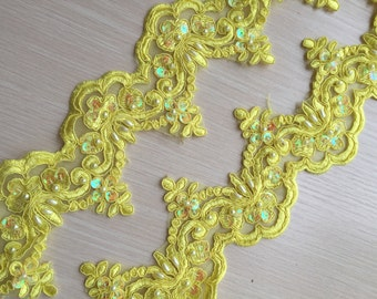 Yellow Alencon Lace Trim Pearl Beaded Sequined Lace Wedding Lace Trim Aulic Retro Lace 3.54 Inches Wide 1 Yard Bridal Veil Dress Supply