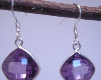 Checkerboard Amethyst Crystal Earrings