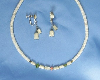 Vintage Necklace Earrings Set Mother of Pearl Shell Puka Carved Tulip & Green Glass Beads Choker Length