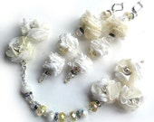 Fabric bridal jewelry set,earrings and a bracelet,white and champagne,long earrings,not ordynary,OOAK