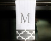 Grey and White Quatrefoil Monogrammed Dish Towel or Hand Towel