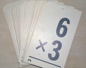 Set of 9 Vintage Milton Bradley Education Multiplication Division Flash Cards