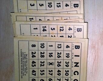 Set of 10 Very Old Antique Vintage Tan and Black Bingo Cards