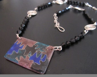 Silver wire wrapped enamel art deco necklace with black glass beads, one of a kind, limited edition