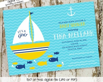 nautical baby shower invitation sailboat baby girl shower gender neutral gender reveal sprinkle coed bash (item 1361) shabby chic invitation