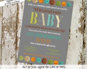 Cute as a button baby shower invitation gender neutral sprinkle diaper couples stock the library reveal (item 1451) shabby chic invitation