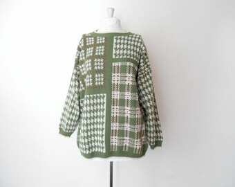 "Plaid and Houndstooth Oversized Sweater - Green White Brown - Vintage 80s Pullover Slouchy Grunge Jumper - Womens 46"" Bust One Size Fits All"