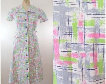 1940s Dress / Brush Strokes Dress / Vintage 40s Day Dress / Medium