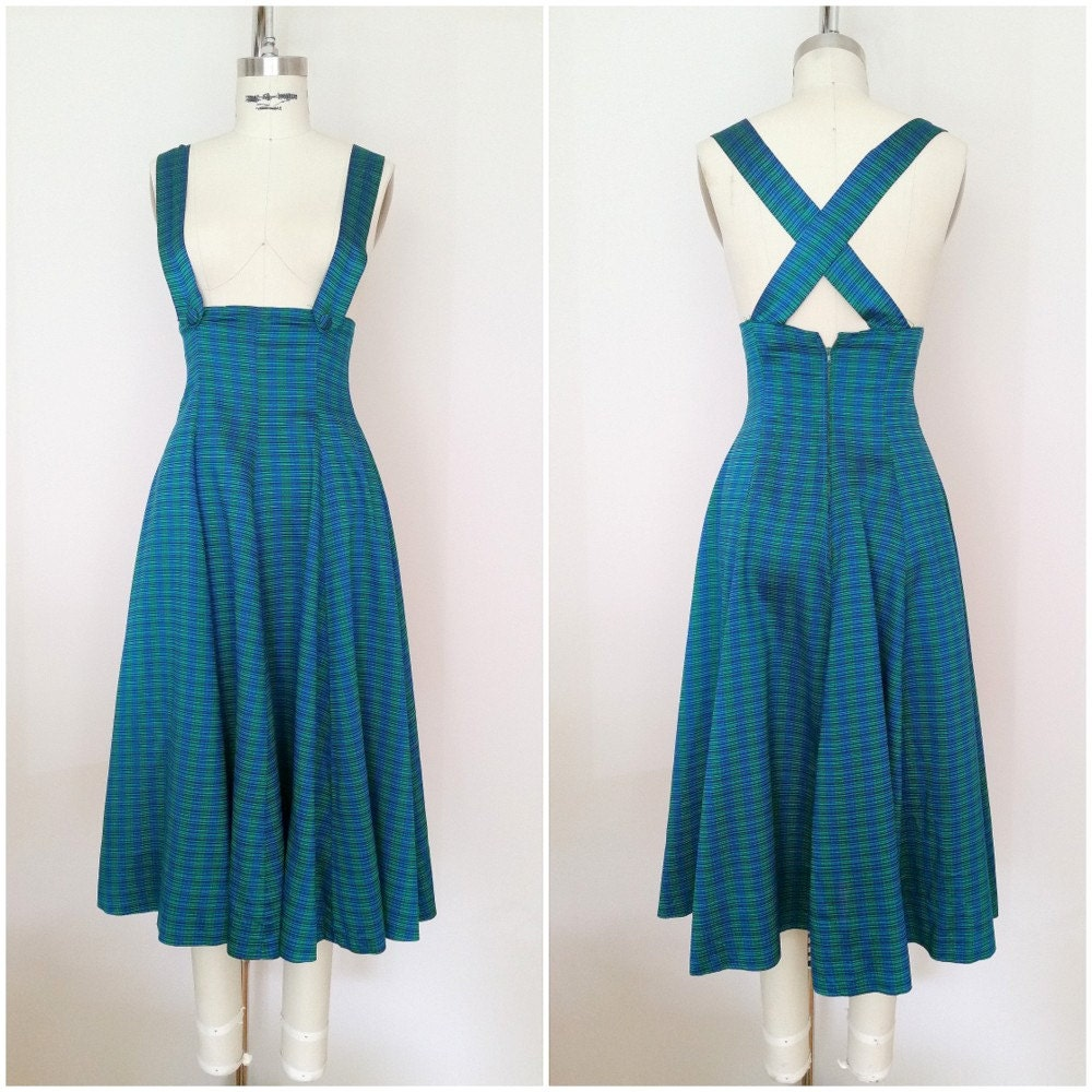 Vintage 1940s Jumper Dress / Blue Green Plaid / 40s Dress / XS