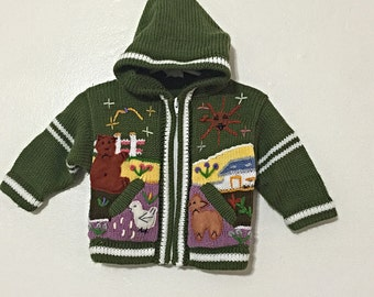 Cute Baby Clothes - Handknit Sweater - Baby Hoodie for Rainy Days - Baby Bunny - Forest Creatures - World of Wool