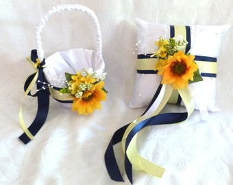 Sunflower flower girl basket ring bearer pillow set