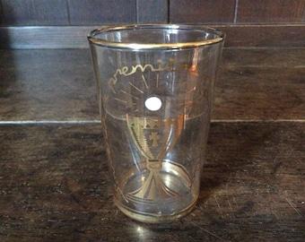 Vintage French Souvenir de Premiere Communion drinking glass with gold detailing circa 1950-60's / English Shop