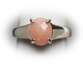 Ladies Sterling Silver Rose Quartz Solitaire Ring