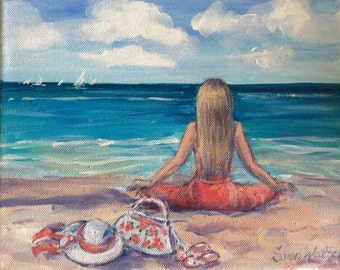 Beach Painting Girl in red  meditating on the beach  original painting 8 x 10""