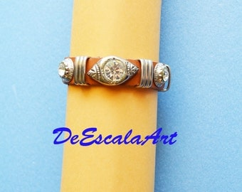 Organic Cuff Leather Bracelet, Vintage, Silver Tone, Large Clear Rhinestones, Item No. De113