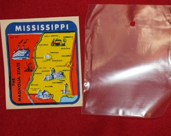 Vintage State Souvenir Window Decal - Mississippi, The Magnolia State, in its original plastic package