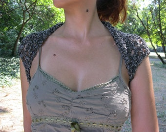 COTTON SHRUG  ....Elegant Hand Knitted Summer Shrug in  Gray Color