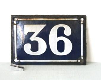 Vintage French Enamel House Number Sign - 36