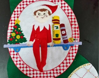 """Finished Felt Christmas Stocking  """"Elf 18"""" Stocking"""