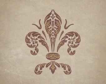 Marzocco Fleur de Lis Furniture Stencil and Craft Stencil for DIY Decor