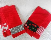 nEw dEsiGn RED Kitchen Tea Towel SET or Bathroom Towel Set - Set of 2 - Christmas Tea Towels Valentine Tea Towels - Ready TO Ship