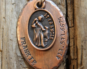 Copper Handstamped Pet ID Tag - Customized Saint Francis