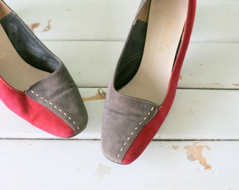 1980s CRANBERRY WITCH Leather Heels.....size 6.5 7 womens.....red leather. suede. mod. shoes. heels. pumps. wine. cranberry. fancy. mad men