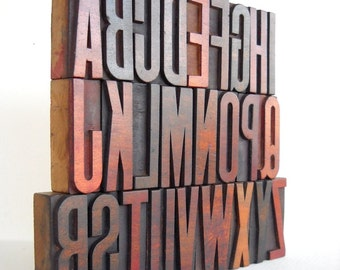 "50% OFF - A to Z - Vintage Letterpress Wood Type Collection - 2.6 "" High- VM025"