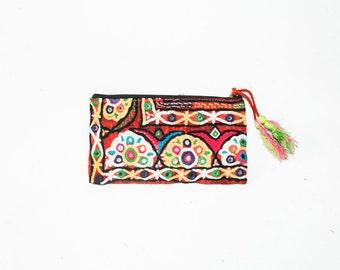 Vintage Textile Clutch , Banjara Cosmetic Bag