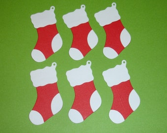 6 Christmas Stocking Embellishments Die Cuts for Christmas Cards Scrapbooking and Paper Crafts Xmas Stockings