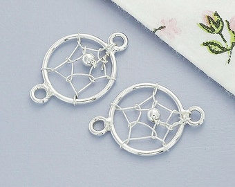4 of 925 Sterling Silver Dream Catcher Connectors, Links 10mm. :th2315
