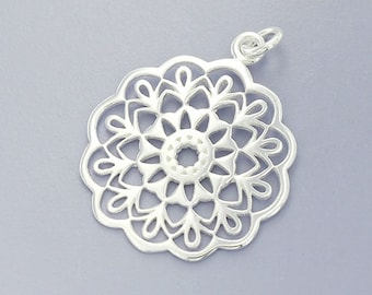 1 of 925 Sterling Silver Filigree Disc Pendant 23mm. Polish Finish :th2335