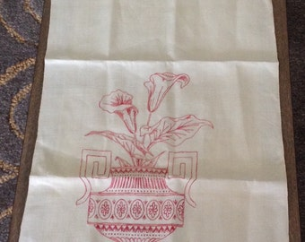 Vintage Embroidered Natural Linen Towel or Table Runner Red