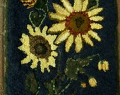 "Primitive Hand Hooked Rug ""Happy Sunflowers"""