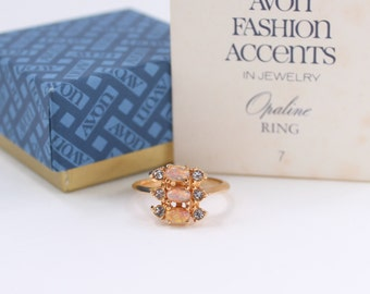SALE 10 PERCENT Off Vintage Signed Avon Opaline Size 7 to 7.5 Gold Tone Faux Opal Glass Cabochon Clear Rhinestone Ring in Original Box NIB