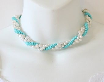 Vintage 1983 Avon Turquoise Impressions Teal Blue Multi Three Triple Strand Faux Pearl Ivory Twist Torsade Multistrand Choker Beach Necklace