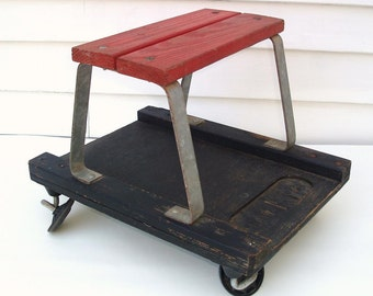 Vintage Bench, Mechanics Stool, Garage Stool, Rolling Cart, Wooden Bench, Creeper, Small Wood Table
