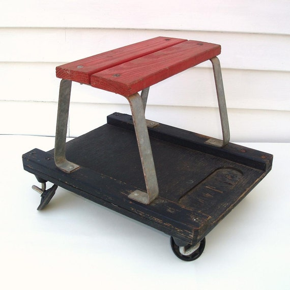 Vintage Bench Mechanics Stool Garage Stool Rolling By