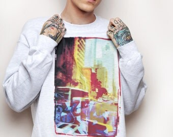 New York city sweater - USA - NYC graphic sweatshirt - skyline sweater - streetwear - crewneck - soft ghetto - normcore - aesthetic jumper