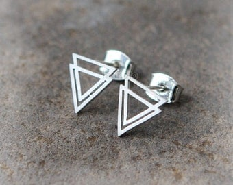 Double Triangles earrings / triangles stdus, gold, silver