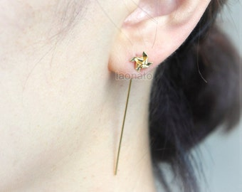 Pinwheel Earrings / windmill earrings with long posts, choose your color,  gold and silver