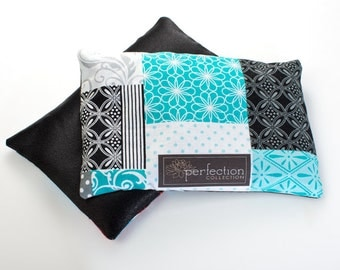 Sale!!!! Turquoise, Black and White Design with Black Satin Color, Flaxseed Filled Kids Feel Better Pillow. Hot and Cold Therapy