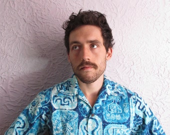 50's/60's Vintage Men's  Barkcloth Hawaiian Shirt medium