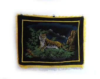 Vintage fringed velvet souvenir pillow cover tiger in bamboo, 1960s decor