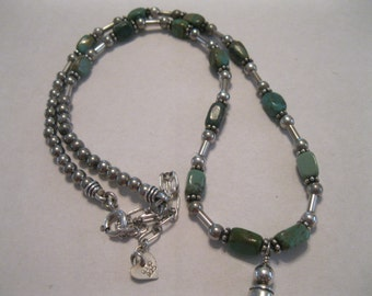Vintage Sterling Silver and Turquoise Q.T. Quoc Turquoise Southwestern Necklace